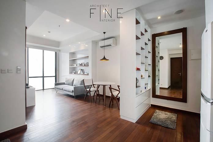 Foto inspirasi ide desain ruang keluarga minimalis Living room oleh Fine Team Studio di Arsitag