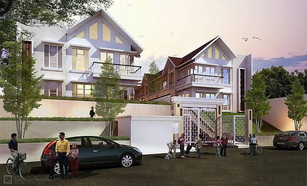 Foto inspirasi ide desain entrance tropis Facade-view oleh ED Architect di Arsitag