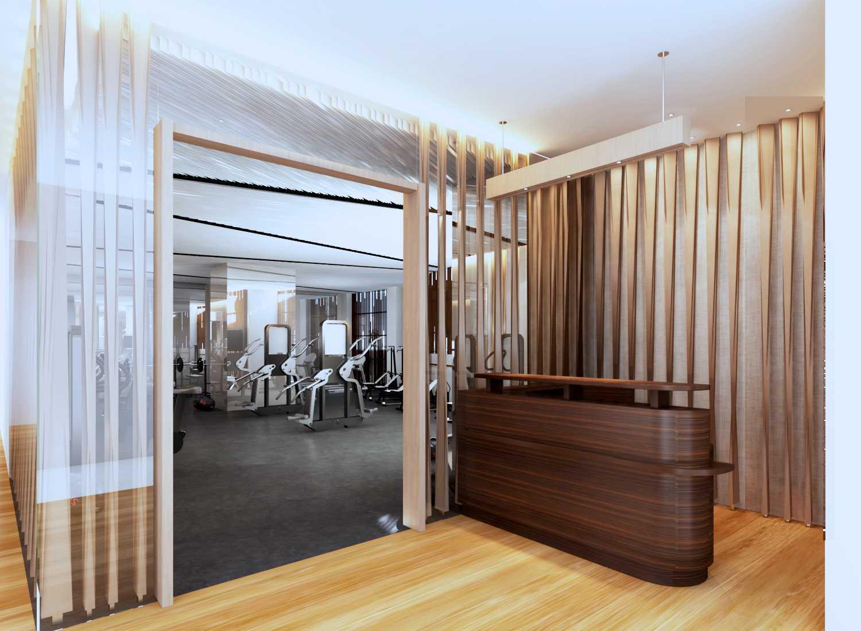 Foto inspirasi ide desain gym kontemporer Reception area oleh Rinto Katili di Arsitag