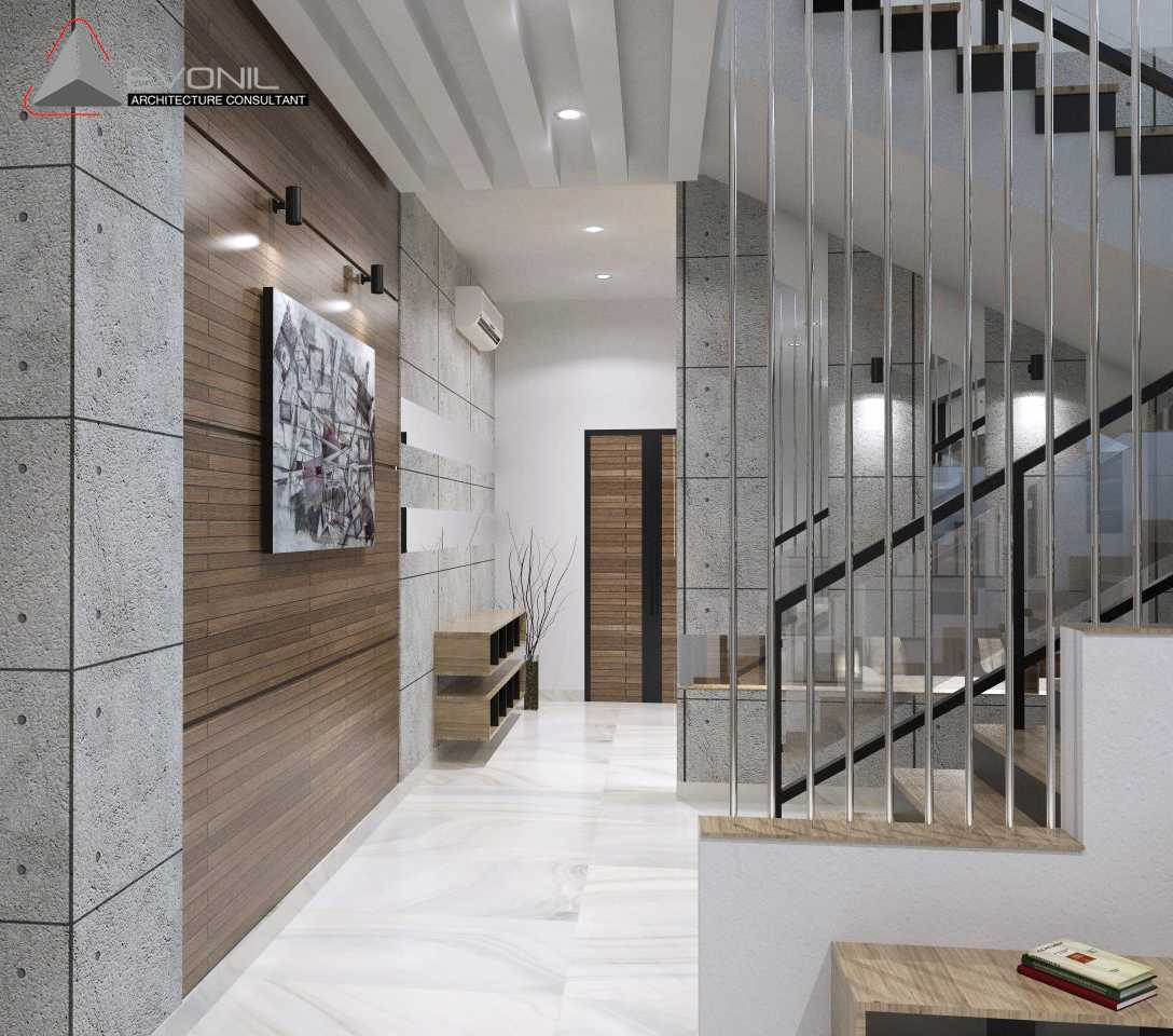 Foto inspirasi ide desain koridor asian Dinding-koridor-pintu-utama oleh Evonil Architecture di Arsitag