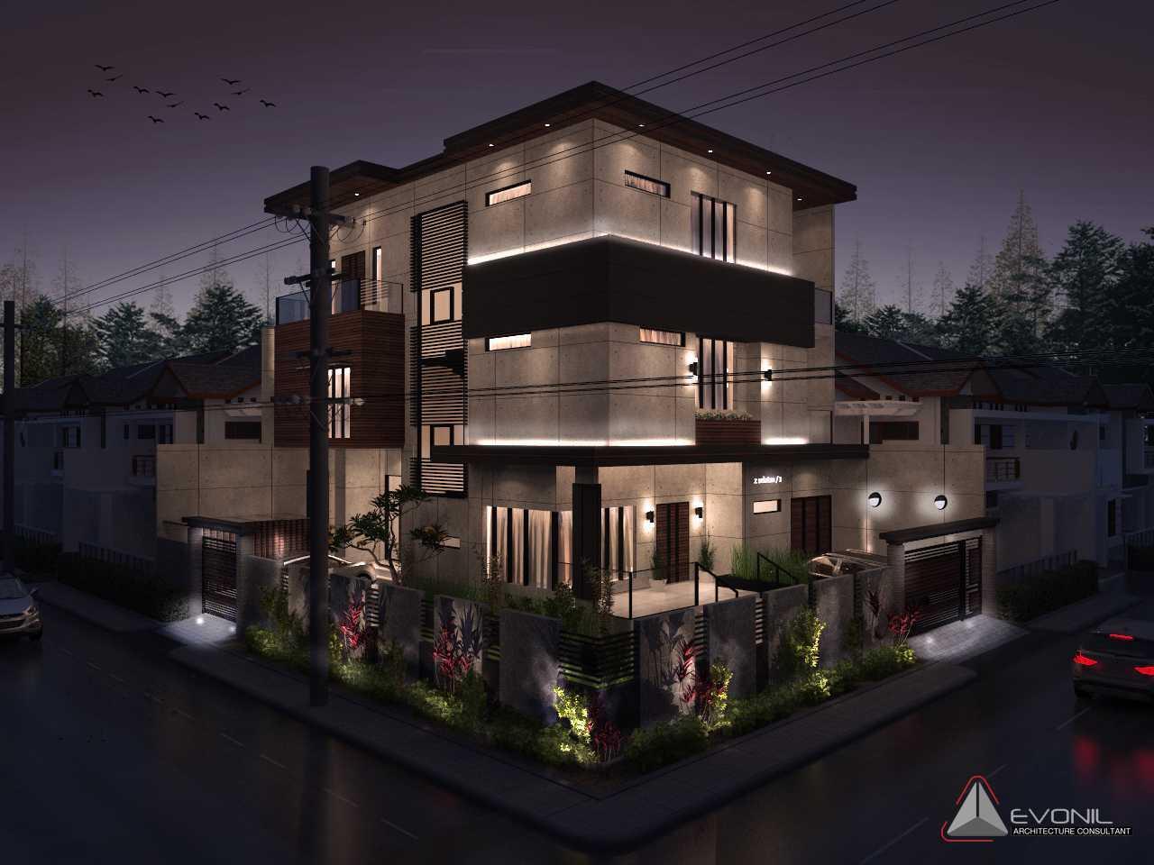 Foto inspirasi ide desain exterior asian Exterior-night-lighting-residence-pluit-timur oleh Evonil Architecture di Arsitag